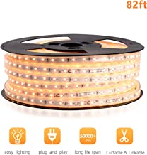 Shine Decor 110V Cuttable LED Strip Lights, Super Bright Plug & Play Light Strip for Indoor Outdoor Lighting, Safe Flexible Glowing Lights for Party Decorations & Ambient Spaces - 82ft Warm White