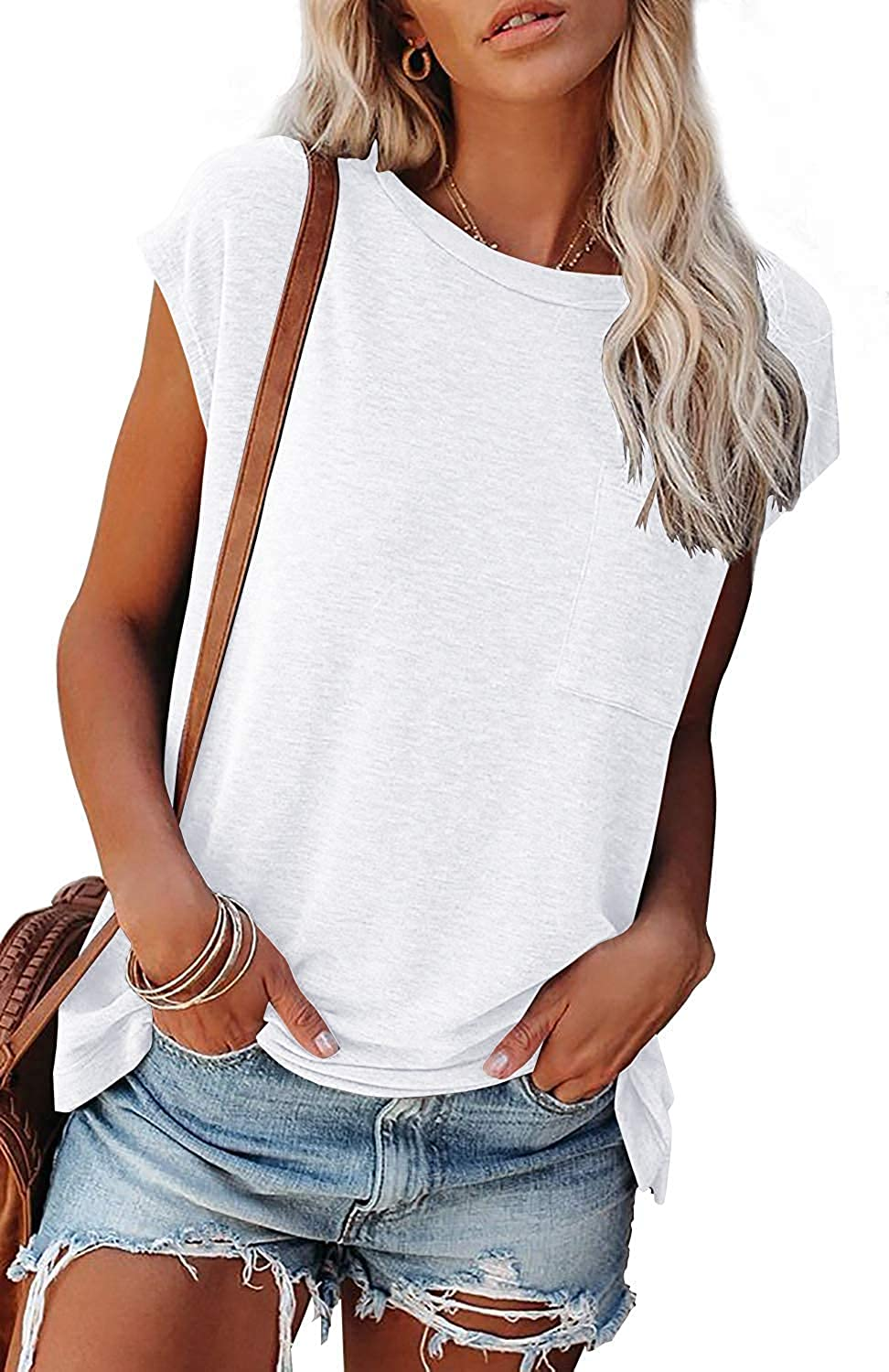 Women's Summer Cap Short Sleeve T Shirts Casual Loose Fit Tee Blouse Tuinc Tops