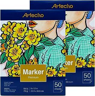 Artecho Marker Pad, Artist Paper Pad, Semi-Translucent for Pen, Pencil and Marker, Fold Over, 18 Pound, 9 x 12 Inch, White...
