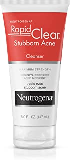 Neutrogena Rapid Clear Stubborn Acne Face Wash with 10% Benzoyl Peroxide Acne Treatment Medicine, Daily Facial Cleanser to...