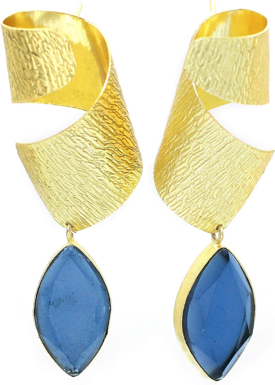 London Blue Max 61% OFF Topaz Gemstone Engraved Plated D Brass Gold Handmade Very popular