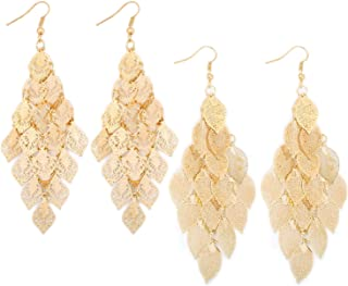Filigree Leaf Cluster Fashion Chandelier Drop Dangle Earrings Fashion Gift Jewelry for Women Girls