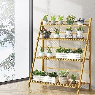 Artiss 4-Tier Bamboo Plant Stand Foldable Flower Pot Book Display Shelves Rack