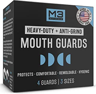 Best M3 Naturals Heavy Duty Mouth Guards for Teeth Grinding Clenching Bruxism Moldable Trimmable Retainer for Bite, Sleep, Sport Athletic, Mouthguard. Nightguard BPA Free 4 Guards 3 Sizes Review