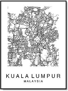 Kuala Lumpur Map Wall Art Poster Print Malaysia City Map Street Black & White