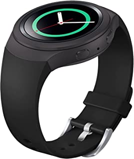 FanTEK Band for Samsung Gear S2 - Soft Silicone Sports Style Replacement Strap Work for Samsung Gear S2 Smart Watch SM-R720 SM-R730 Version Only (Black)