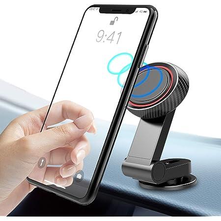 Supporto Smartphone per Auto, TINICR 360°/90° Regolabile Porta Cellulare da Auto per Cruscotto, Universale Porta Telefono Auto con Base Adesiva per Tutti Gli Smartphone - Nero