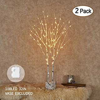 Hairui Lighted Artificial Twig Birch Tree Branch with Fairy Lights 32IN 100 LED Battery Operated Lighted White Willow Branch for Christmas Home Decoration Indoor Outdoor Use 2 Pack (Vase Excluded)