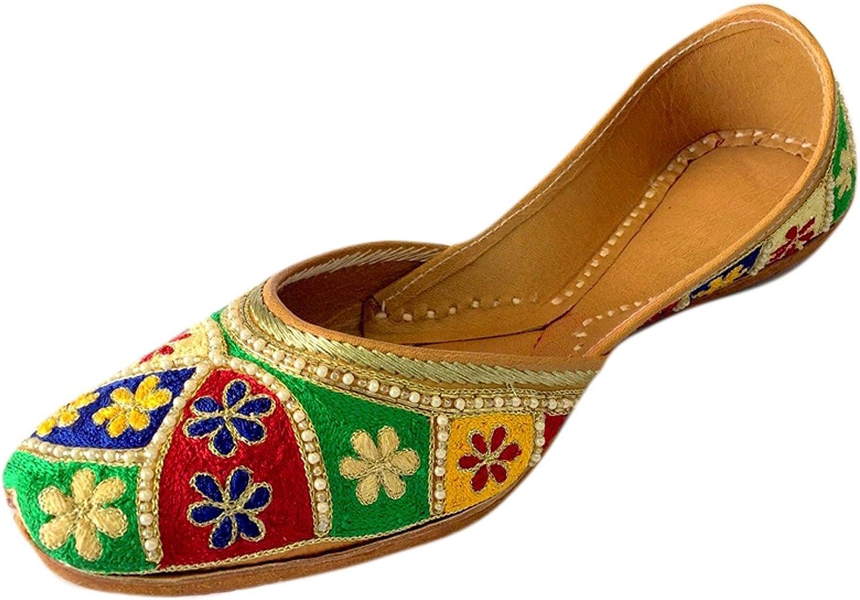 Step n Style Women Flat Multi Thread & Moti Work Khussa shoes Punjabi Jutti Ballerina