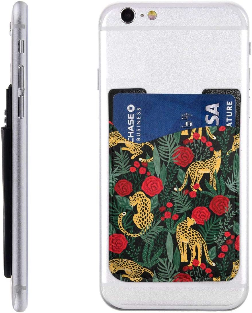 Leopards and Roses Phone Card Holder, Stick On ID Credit Card Wallet Phone Case Pouch Sleeve Pocket for iPhone, Android and All Smartphones