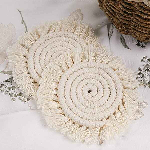 Lahome Handmade Macrame Coasters Round Drinks Cotton Boho Woven Coaster Set With Tassel For Kinds Of Mugs And Cups Cream Set Of 2