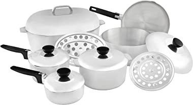 IMUSA USA IMU-89305 Heavy Duty 13-Piece Cast Aluminum Cajun Cookware Set, Silver