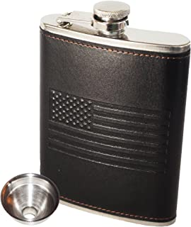 OUTZIE American Flag Flask - Soft Touch Cover | Laser Welded | 18/8 304 Food Grade Stainless Steel | Leak Proof Slim Profile Classic American Flag Design | Funnel and Gift Box Included