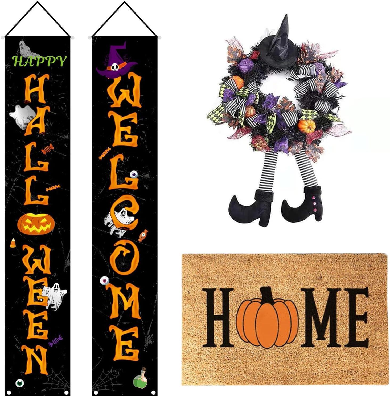 Halloween Bruja Guirnalda Decoración para puerta Entrada al aire libre patas Bruja Guirnalda Decoración Hoja arce con pareado y Halloween felpudo(Color:B,Size:)