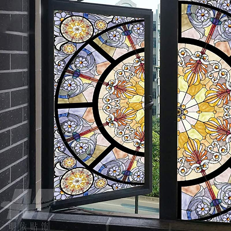 XXRBB Window Film Stained Glass Privacy Frosted Glass Sticker Self Adhesive Opaque Anti UV For Home Bathroom Office Glass 110x200cm 43x79inch