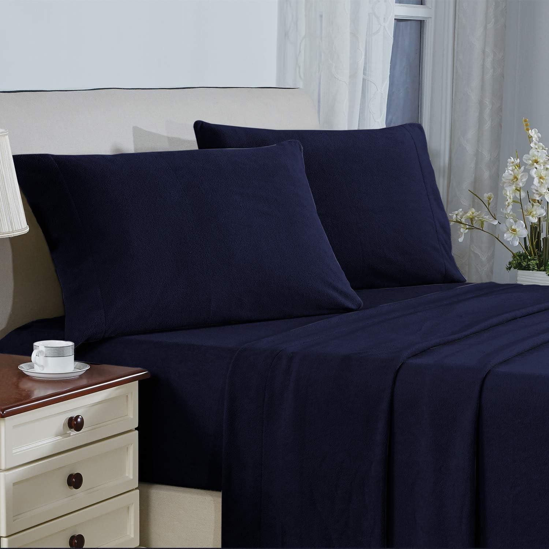 Plush Micro Fleece Bed Sheet Set, Extra Warm Polar Fleece 4 Pcs Winter Bed Sheets with Deep Pocket, Navy, Full