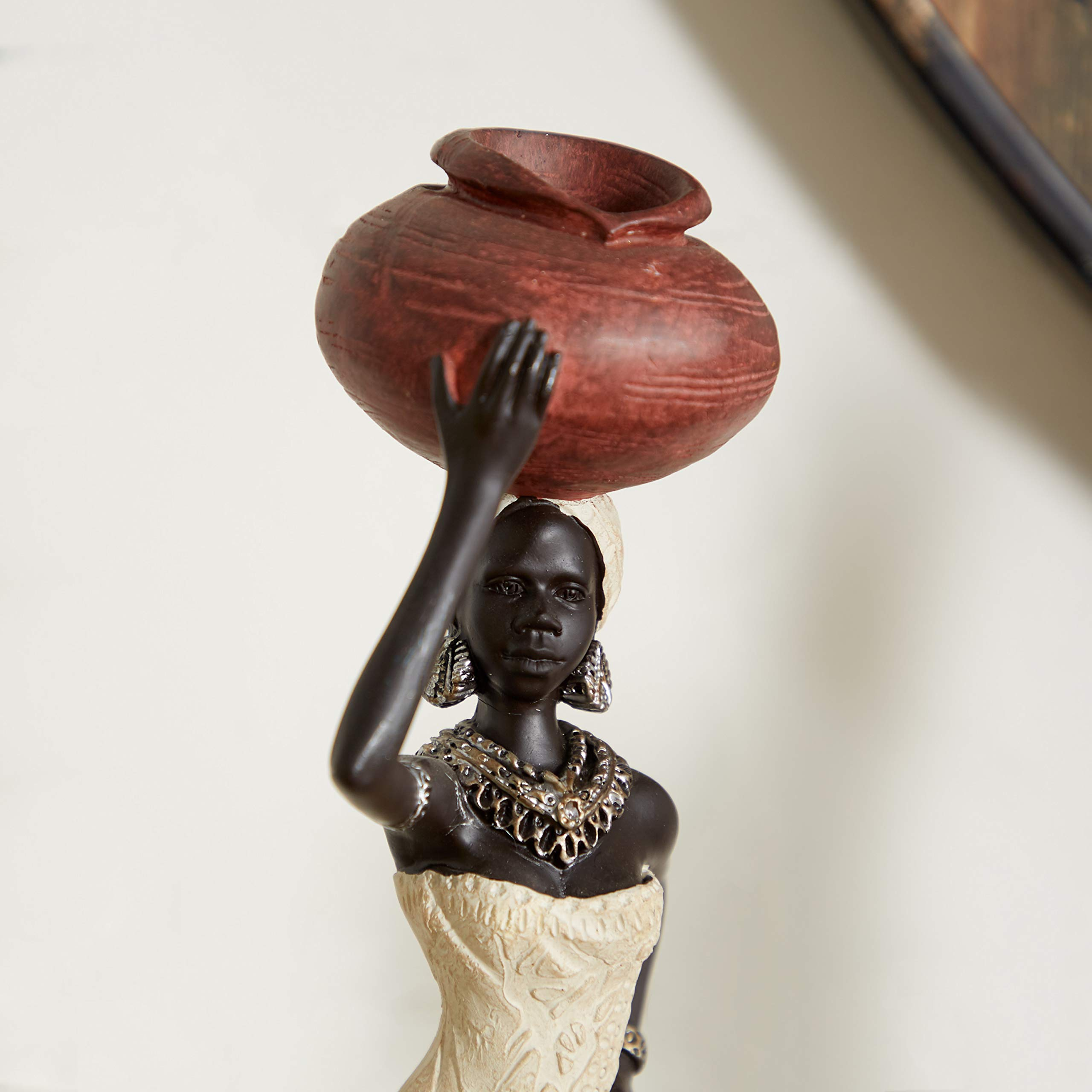 """Deco 79 Traditional Polystone African Tribe Lady Sculptures, Set of 2, 16"""" x 4"""", Multicolored Paint"""