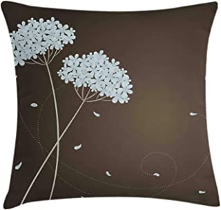 Ambesonne Brown and Blue Throw Pillow Cushion Cover, Floral Design with Swirl Lines Falling Leaves Autumn Inspired, Decorative Square Accent Pillow Case, 18