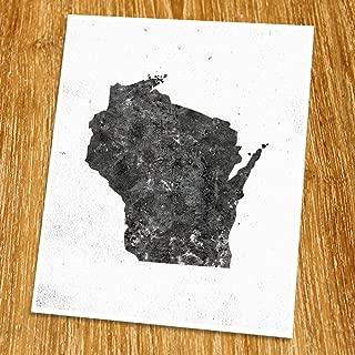 Wisconsin Map Print (Unframed), Minimalist Map Art, Scandinavian Map Poster, Industrial, Loft, Hipster, Living Room Decor, 8x10