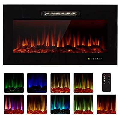 """Homedex 36"""" Recessed Mounted Electric Fireplace Insert"""