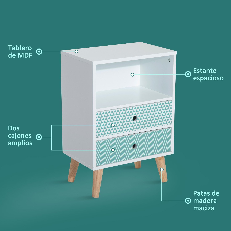 HOMCOM Cómoda de Madera Multiusos Tipo Armario Bajo Cajonera y Mesita de Noche con 2 Cajones y 1 Estante Organizador Blanco 45x30x65cm: Amazon.es: Hogar