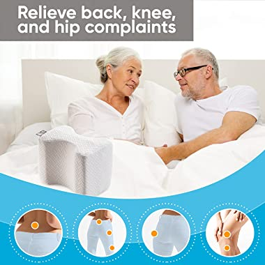 Knee Pillow for Side Sleepers - 100% Memory Foam Wedge Contour - Leg Pillows for Sleeping - Spacer Cushion for Spine Alignmen