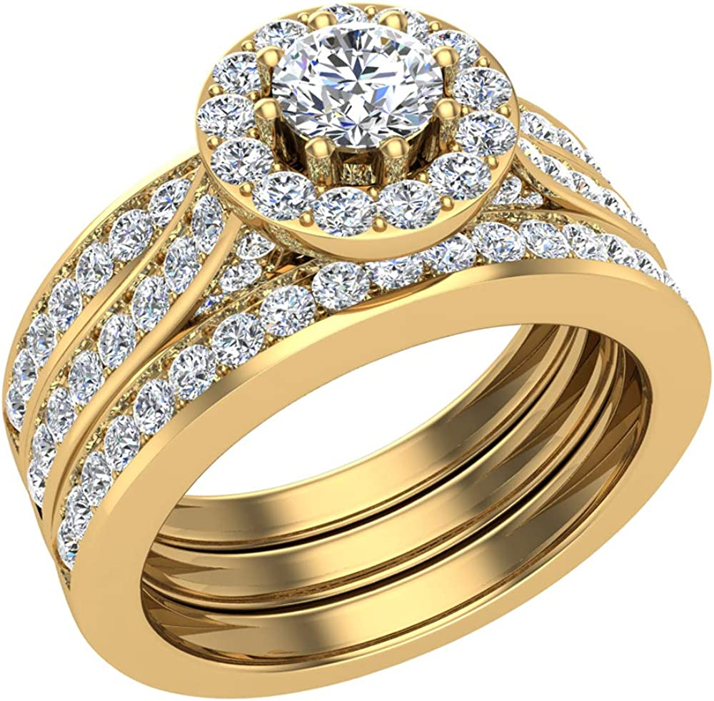 Halo mart Wedding Ring Set for Brilliant Diamond Women 8-p Round San Jose Mall