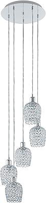 Eglo Suspension Bonares 1, 5 Ampoules, Élégante Suspension en Acier et Cristal Chromé, Transparent, Lampe de Salle à Manger, Lampe de Salon Suspendue avec Douille E27