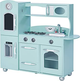 Teamson Kids - Retro Kids Toy Pretend Play Kitchen Playset with Refrigerator. Freezer. Oven and Dishwasher - Mint (1 Pcs)
