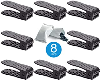ibobos Shoe Slots Organizer 8 Piece Set (Black) - Closet Space Saver Shoes Slots 3step Adjustable Non-Slip Plastic Footwear Shoe Rack Organizer Comes with Free 2 Charcoal Deodorizer
