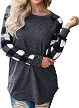 SUNNYME Women's Plaid Shirts Long Sleeve Tees Flannel Crew Neck Loose Tunics Blouses Tops