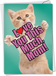 Cat Love You This Much: Birthday Mother Greeting Card Featuring a Sweet Cat Holding Arms Wide to Show You How Much It Loves You, with Envelope. C6610GBMG