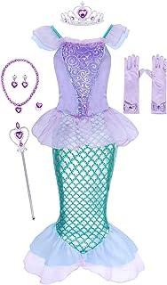 Jurebecia Little Mermaid Dress Ariel Costume for Girls Halloween Dress up Outfit 1-12 Years