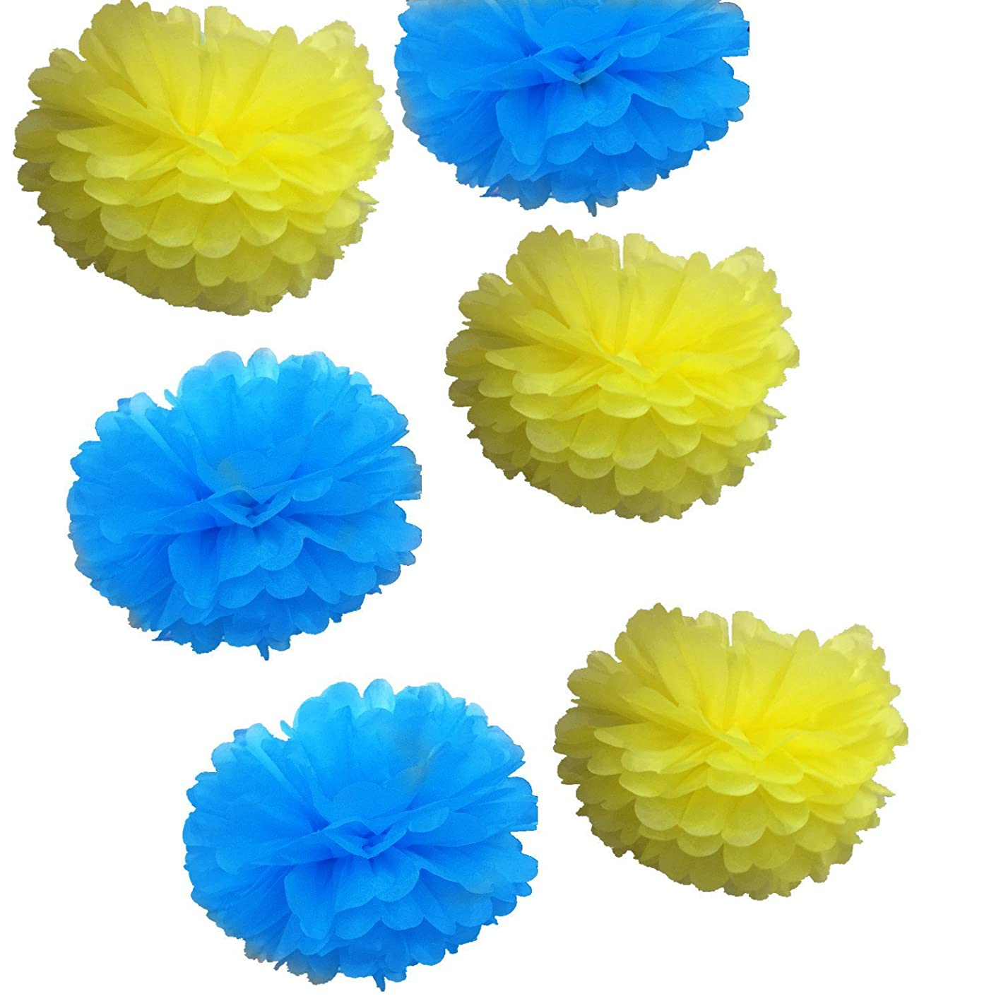Fonder Mols 14inch Large Blue Yellow Tissue Paper Flowers Pom Poms Craft Kit for Minions Themed Birthday Party Baby Shower Decorations (Set of 6pcs) mievvliatvc731