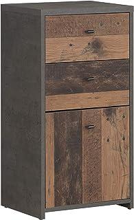 Forte Cómoda con 1 Puerta y 2 cajones en una Moderna combinación de Colores Antiguos Aspecto de hormigón Tabla de Madera...
