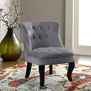 Grey Upholstered Chair | Jane Tufted Velvet Armless Accent Chair with Black Birch Wood Legs - Light Gray