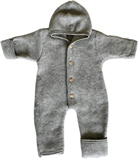 Baby Fleece Snowsuit Footed Coverall Romper with Hood, Merino Wool