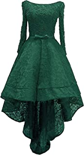 Women's Lace Hi-Low Beaded Prom Dresses Evening Gown Cocktail Dress
