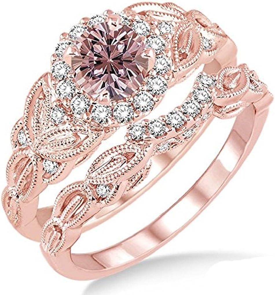 1.25 Carat Morganite & Diamond Vintage floral Bridal Set Engagement Ring on 10k Rose Gold