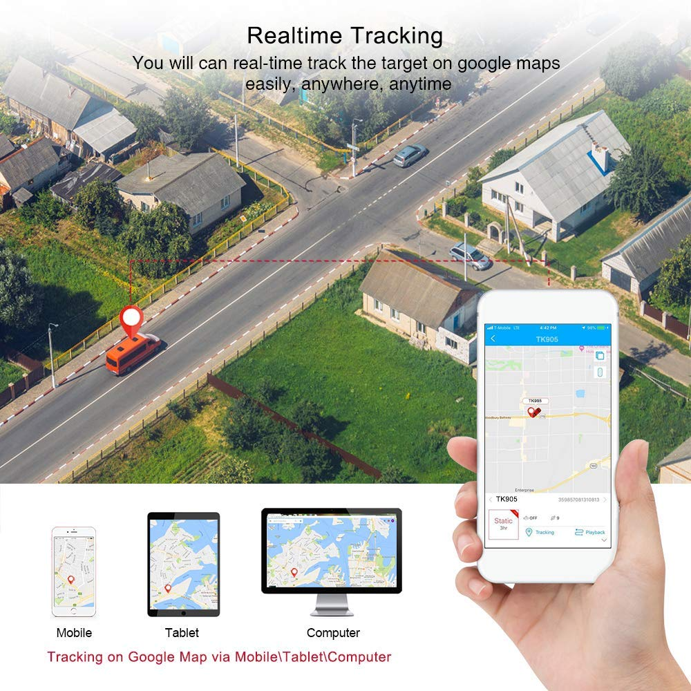 Localizador GPS para Coche, App/Sitio Web posición en Tiempo Real Antirrobo rastreador GPS para Vehículos Fuerte imán y 5000mAh Recarga GPS Tracker con Gratis App para Smartphone TK905: Amazon.es: Electrónica