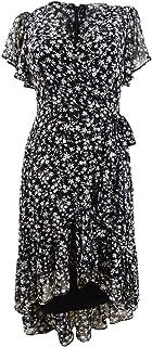 Women's Petite Flutter Sleeve A-line Dress with Surplice Neckline