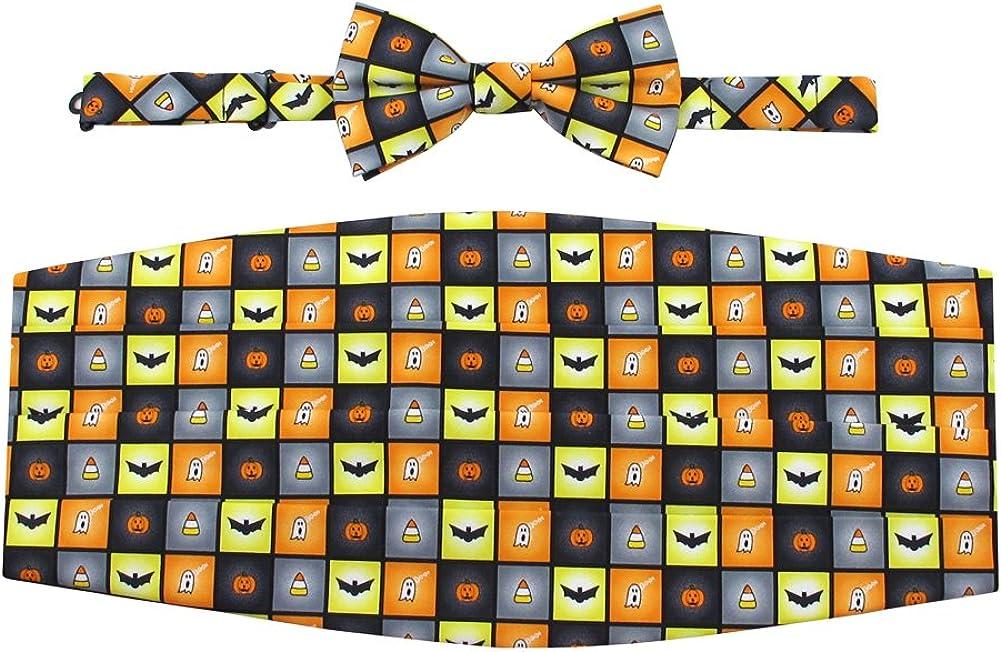 Men's Spooky Halloween Squares Jack-O'-Lantern Ghost Candy Corn Bats Cummerbund Set