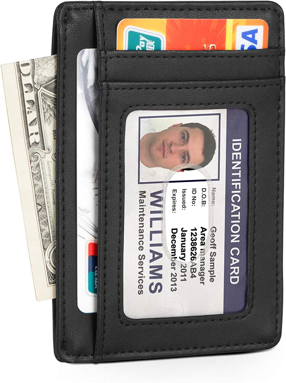 OFTEN Men Leather Pocket Wallet Card RFID Block Business Purse with Gift Box