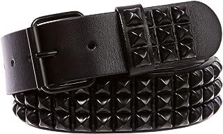 Three Row of Punk Rock Star Metal Black Studded Leather Belt