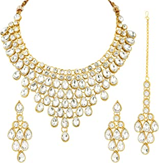 Aheli Exquisite Wedding Party Wear Faux Stone Studded Necklace with Maang Tikka Set Indian Ethnic Traditional Jewelry for ...