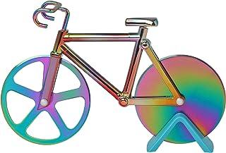 Tagliapizza per bicicletta, lama super affilata in acciaio inox (con rivestimento antiaderente e supporto), 17,3 cm, colorato