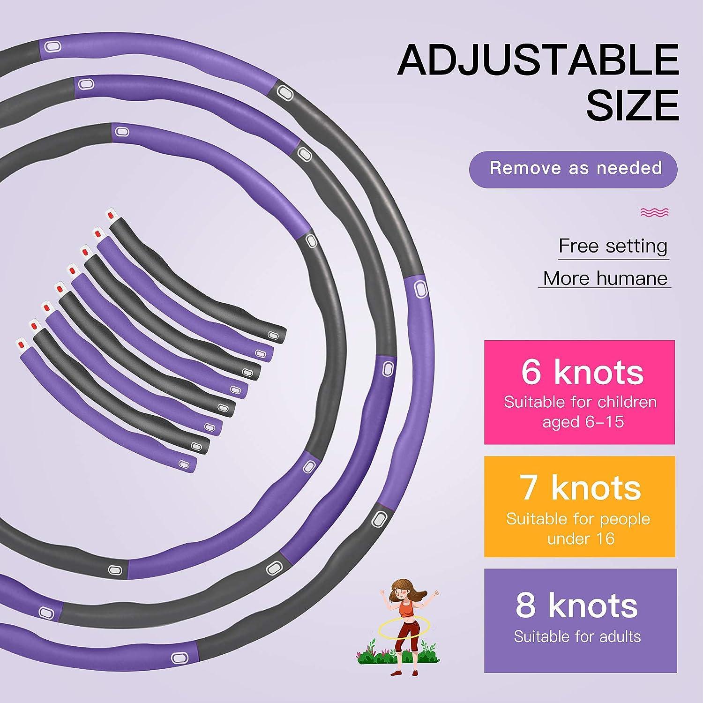 Hula Hoop Reifen Erwachsene mit Mini Bandma/ß kommt Zusammenklappbare /& Einstellbare Fitness Ubung Hula Hoop Gkodeamig Hula Hoop Reifen 8 Abschnitt Abnehmbares Design