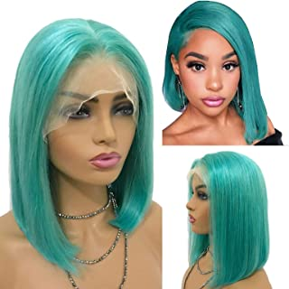 Human Hair Wig Sky Blue Lace Front Short Wigs 150% Density Glueless Thickness Straight Bob Bleached Knots Pre Plucekde 13x4 Middle Part for Women 10inch Soft and Bouncy