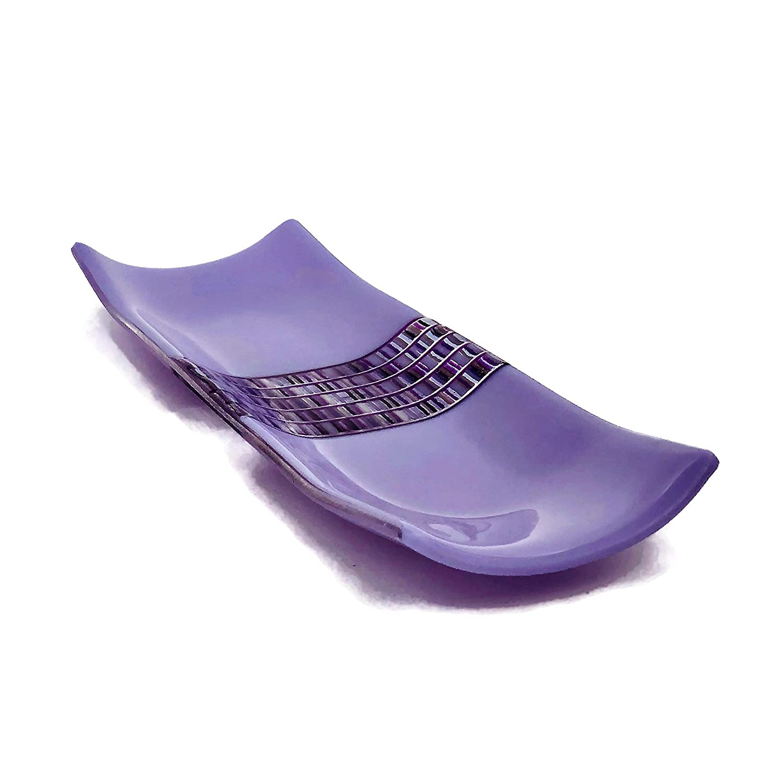 送料無料激安祭 Purple Decorative Art Dish 予約販売 Glass