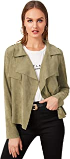Milumia Women's Casual Waterfall Collar Suede Open Front Plain Jacket